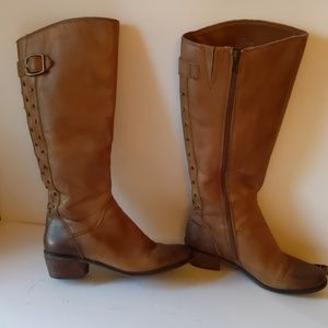 Lucky Brand tan studded riding boots-sz 6 1/2B